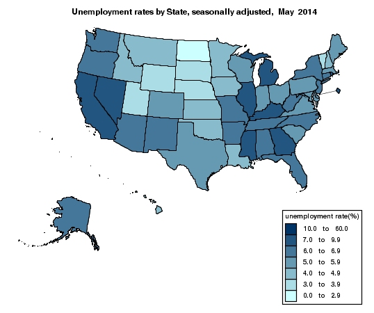 May Unemployment Map 2014
